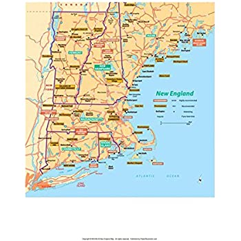 Amazon vintprint map poster new england 24x19 posters michelin official new england map art print poster 13 x 19in gumiabroncs Image collections