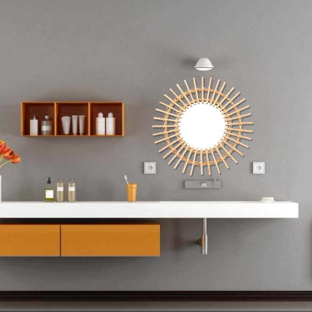 Wan Ning Rattan Espejo de vanidad Arte Creativo Decorativo Espejo Redondo sal/ón Colgante de Pared ba/ño de la Cocina Espejo de Maquillaje Espejo de Maquillaje Espejo de Pared