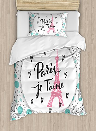 Ambesonne Paris Duvet Cover Set, I Love You Lettering Fashion Modern Background Europe Architecture, Decorative 2 Piece Bedding Set with 1 Pillow Sham, Twin Size, Turquoise Grey