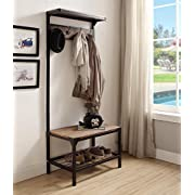 Vintage Dark Brown Industrial Look Entryway Shoe Bench with Coat Rack Hall Tree Storage Organizer 8 Hooks in Black Metal Finish