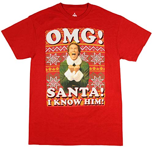 Hybrid Buddy The Elf Shirt OMG! Santa I Know Him Ugly Sweater Design Christmas Holiday Movie T-Shirt (Small) Red