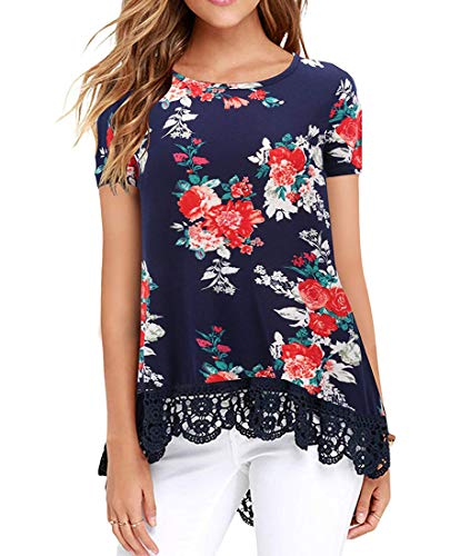 UUANG Women Loose Round Neck Shirt Soft Floral Print Blouse Tops (Floral Navy,S)