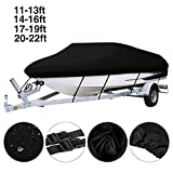 Dulcii Boat Cover, 420D Waterproof Trailer Fishing Ski Boat Covers, Four Sizes Choose,Black