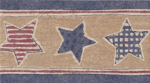 (Blue Beige American Stars Wallpaper Border)