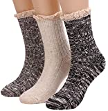 3 Pairs Womens Thick Warm Cotton Knit Boot Socks With Lace Trim W29 (solid color)