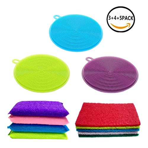Kitchen Towels Silicone Sponge Brush Lingso Cleaning Wash Dishes scouring pad Scrubber Non Stick Scrub Pot Pan Bowl 12PCS