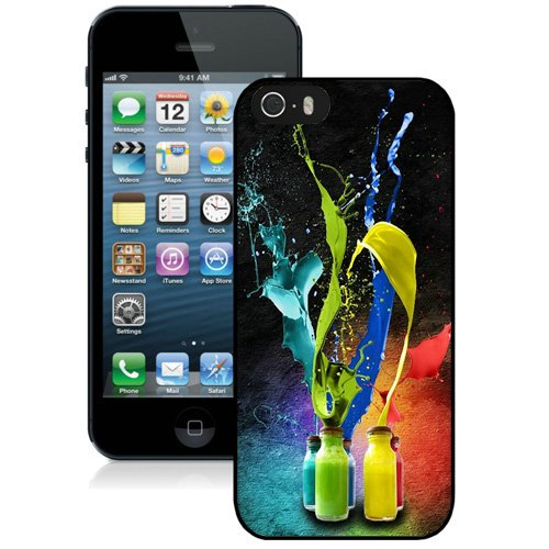 Coque,Fashion Coque iphone 5S Abstract Color Bottles Splash Noir Screen Cover Case Cover Fashion and Hot Sale Design