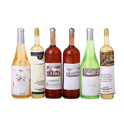 1/12 Dollhouse Miniature Accessories Mini Resin Whiskey Wine Bottle Simulation Furniture Model Toys for Dollhouse Decoration (6PCS): Toys & Games