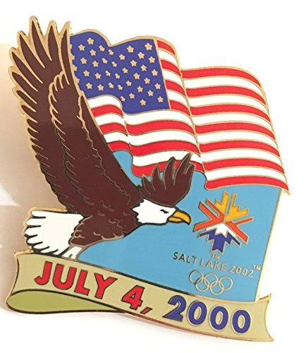 (Patriotic American Liberty Bald Eagle USA Flag 2000 Fourth Of July Salt Lake City 2002 Winter Olympics Pin LE 98/1000)