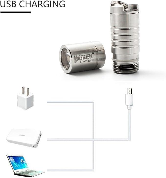 WUBEN G339 Mini Linterna 130 L/úmenes Cargador USB Linterna LED con 2 Modos IPX8 10180 Bater/ías resistente al agua foco adjustable Pefecta para actividades al aire libre Material de acero inoxidable