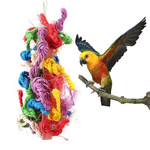 Colorful Parrots Chewing Rope Pet Bird Wooden Sisal Chew Bite Rope Bird Cage Climbing Hanging Toys Pet Cage Decoration for Macaw African Greys Budgies