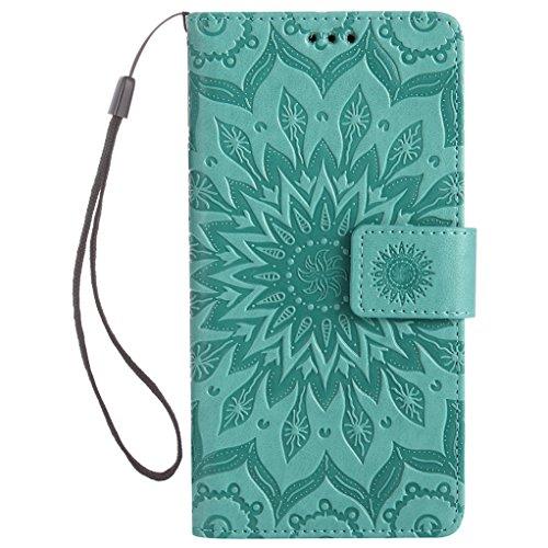 Trumpshop Smartphone Carcasa Funda Protección para Huawei Honor 6C [Rrosa] 3D Mandala PU Cuero Caja Protector Billetera Choque Absorción Verde