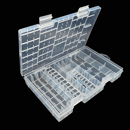 MAYMII Transparent Storage Case for AA AAA C D 9V Multi Size Hard Plastic Battery Case Holder Organizer Box by MAYMII