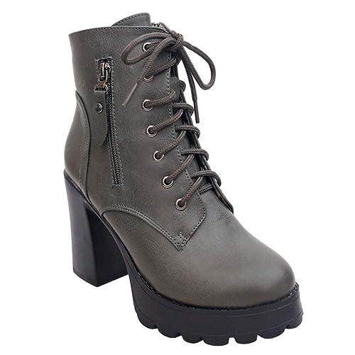 Daytwork Tobillo Botas Bloque Tacón Botines Mujer - Mujeres Cuero Alto Tacón Botines Grueso Botas Plataforma Ante Cordones Antideslizante Zapatos Informal ...