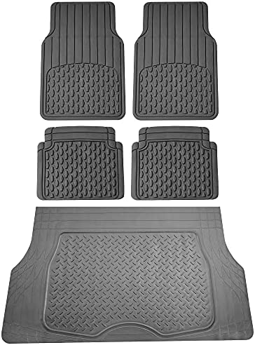 FH Group Trimmable Climaproof All Weather 4 Piece Liners Full Set Car Floor Mats (Gray) w. Premium All-Season Cargo Liner (Gray) – Universal Fit for Cars Trucks and SUVs