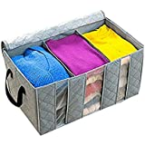 NAGU Closet Sweater Organizer Box Foldable Storage Bag Clothes Blanket Closet Charcoal 65L 60X35X30cm Grey