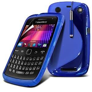 (Azul) Protector Blackberry Curve 9660 onda S Línea Gel piel cubierta retráctil Capacative Pantalla Táctil Lápiz Óptico & 6 Pack Protector de pantalla LCD Protector de Spyrox