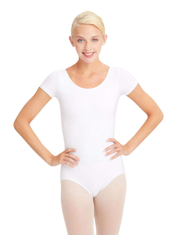 Capezio Women's Team BasicShort Sleeve Leotard,White,Medium
