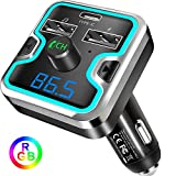 Bluetooth FM Transmitter for Car, Wireless FM Transmitter Radio Receiver Adapter Car Kit, with Dual USB & Type-C Charging Port, Music Player Support USB Drive & TF Card