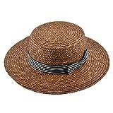 Dedesty Wide Brim Straw Hat for Women Flat Top Sun Ladies Straw Hats Brown Girl Beach K19