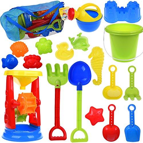 Sandbox Set (Kids Beach Sand Toys Set with Mesh Bag, Sandbox Toys Sand Wheel and Sand Molds, Tool Play Set, Watering Can, Shovels, Rakes, Bucket , Sea Creatures, Castle Molds 18pcs)