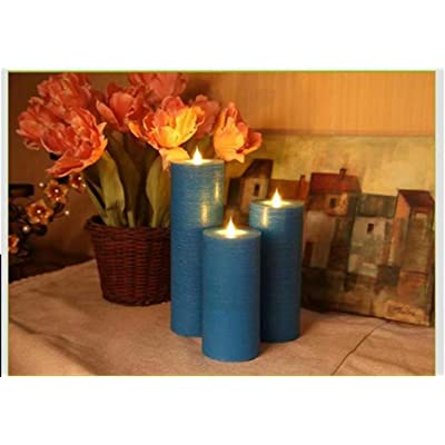 LED Electric Flameless Blue Candle Yellow Bright Bulb Moving Wick with 4 Or 8 Hours Timer Battery Operated Artificial Simulation for Holiday Seasonal Christmas Halloween Wedding Party Decor 1PCS: Home Improvement