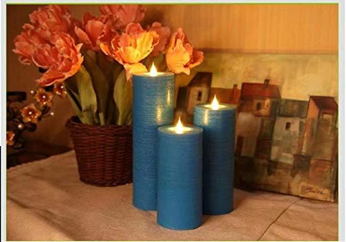 LED Electric Flameless Blue Candle Yellow Bright Bulb Moving Wick with 4 Or 8 Hours Timer Battery Operated Artificial Simulation for Holiday Seasonal Christmas Halloween Wedding Party Decor 6PCS