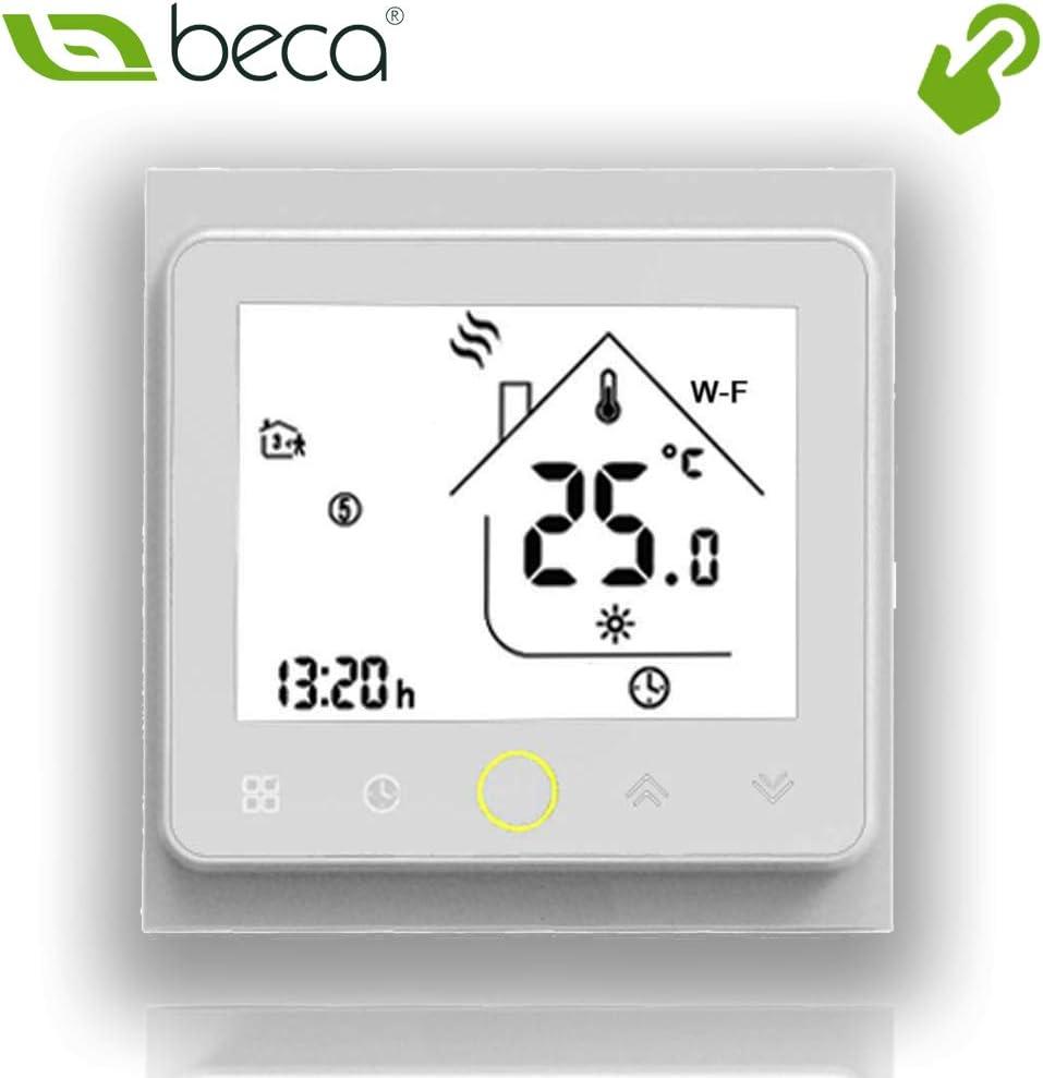 Deux tuyaux, Plein blanc Beca 002 Series Thermostat /à /écran tactile /à deux//quatre tubes pour ventilo-convecteur pour climatisation avec connexion Wifi pour assistance vocale intelligente