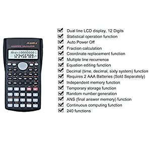 Scientific Calculator - Best Algebra calculator, Basic Math calculator, Financial calculator, Engineering calculator with large dual line display screen and protective cover