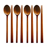 XDOBO Wooden Chopsticks and Spoon Sets, 4 Sets (Brown)