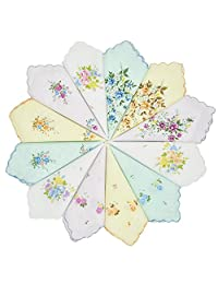 GB Women's 100% Cotton Handkerchiefs Assorted with Wavy Edge and Print Floral 12 Pieces
