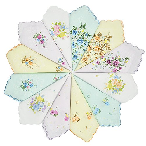 - GB Women's 100% Cotton Handkerchiefs Assorted with Wavy Edge and Print Floral 12 Pieces