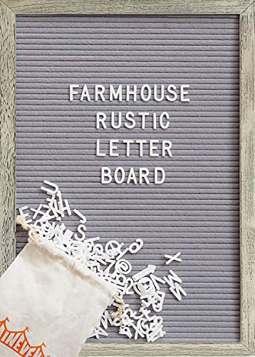 Felt Letter Board with 12x17 Inch Rustic Wood Frame, Script Words, Precut Letters, Picture Hangers, Farmhouse Wall Decor, Shabby Chic Vintage Decor, Grey Felt Message - Photographs Message Boards