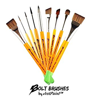 Bundle - BOLT Face Painting Brushes by Jest Paint - Set of 9 FIRM Brushes