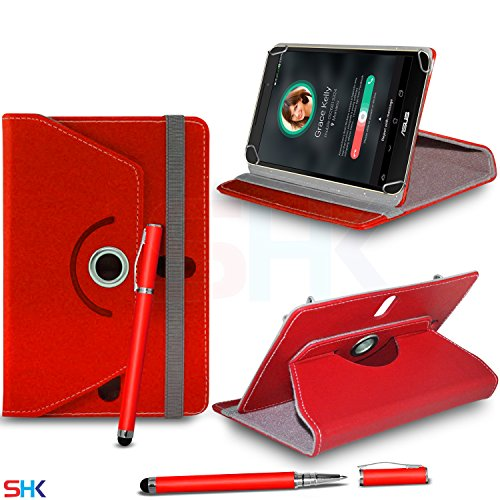 """ASUS Fonepad FE375CG 7.0"""" Inch RED 360 Degree Rotating Tablet Case PU Leather Flip Wallet Spring Stand Case Cover + 2 in 1 Ball Pen Touch Stylus Pen (SHK7) SVL107 BY SHUKAN®, (RED)"""