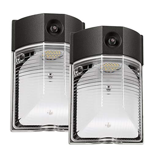 LEONLITE 2 Pack LED Wall Pack, 26W 3000lm 3000K Warm White(Dusk-to-Dawn Photocell, Wet Location), AC 120-277V, 200W Equiv, ETL & DLC Listed Outdoor Security Lighting with Photocell, 5 Years Warranty