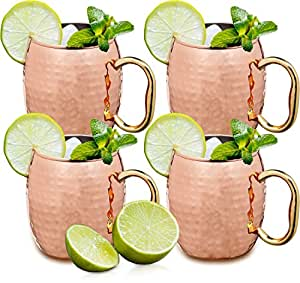 Estilo Handcrafted Solid Hammered Moscow Mule Mugs, 20 oz, Set of 4, Copper