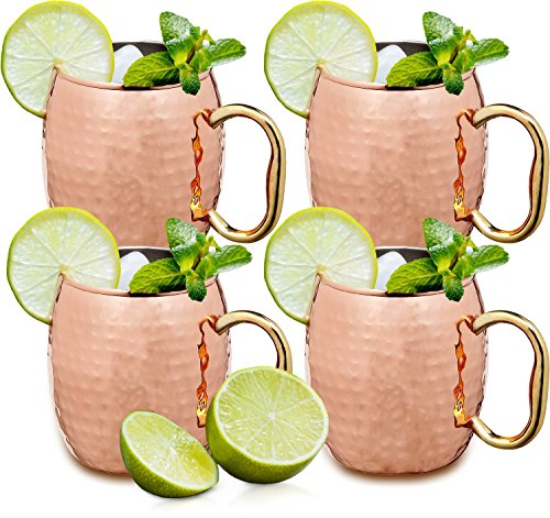 Estilo Handcrafted Solid Hammered Copper Moscow Mule Mugs, 20-ounce - Set of 4 (4 Inch Mug)