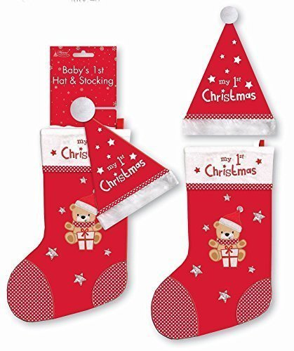 Baby s 1st Christmas Hat and Stocking Set  Amazon.co.uk  Kitchen   Home dd3ff161927