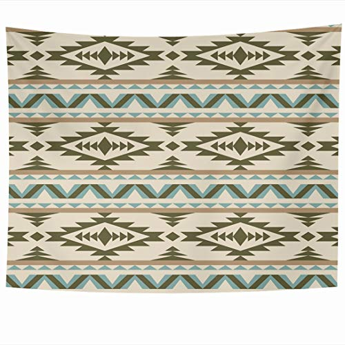 Ahawoso Tapestry 90 x 60 Inches Ethnic Blue Native Aztec Pattern On Light Abstract Brown American Ikat Tribal Navajo White Wall Hanging Home Decor Tapestries for Living Room Bedroom Dorm