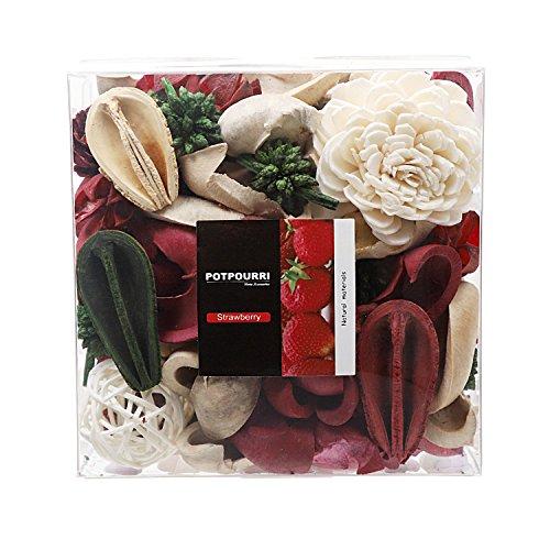 Qingbei Rina Gift, Strawberry Scent Potpourri Bag, Including Flower, Petal, Pinone, Rattan Ball, Sepa Takraw, Perfume Satchet in PVC Bag. Home Decoration, 10.2oz Red