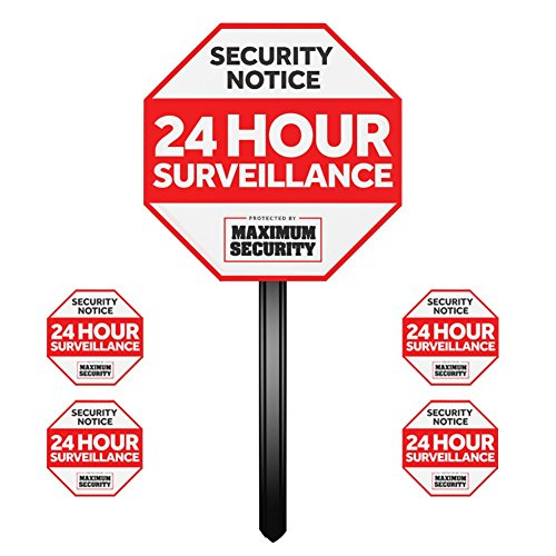 Security Sign w/Stake & 4 Window Decal Alarm Sign (UV Fade ()