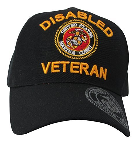 US Marine Corps Disabled Veteran & USMC Insignia on Visor Baseball Hat, Black (Insignia Cap Veteran)