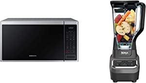 Samsung MS14K6000AS 1.4 cu. ft. Countertop Microwave Oven with Sensor and Ceramic Enamel Interior, Stainless Steel & Ninja Professional 72 Oz Countertop Blender with 1000-Watt, Black
