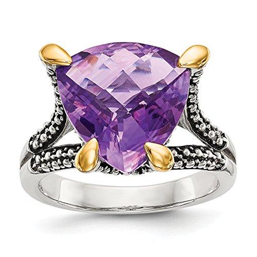 14k Amethyst Jewelry Set (ICE CARATS 925 Sterling Silver 14k Purple Amethyst Band Ring Size 8.00 Gemstone Fine Jewelry Gift Set For Women Heart)