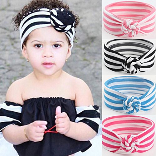 Sunbona Headband For Baby,Toddler Girls Striped Knotted Turban Head Wrap Hair Bands Photo Props Hairband Set (Gray) (Headband Cotton Striped)