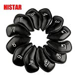 HISTAR Golf 12pcs PU Thick Synthetic Leather Golf Iron Head Covers Set Headcover Fit All Brands(Black Red)