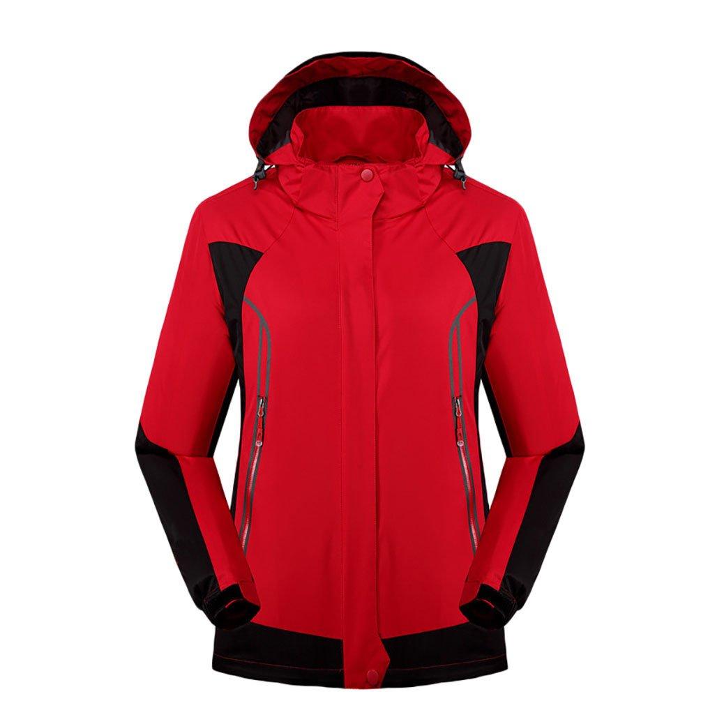 Femme Rouge Asia 4XL ZKOO Femme Homme Imperméable Softshell Veste Coupe-Vent Fonctions Manteau à Capuche Blouson de Sport d'extérieur Ski Randonnée Montagne Cyclisme Camping