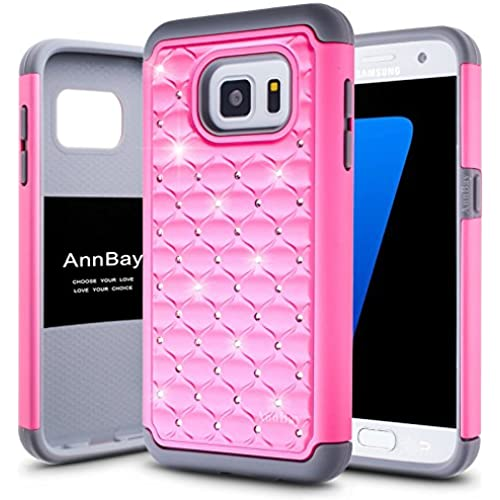 Galaxy S7 Case, Samsung Galaxy S7 Case,AnnBay 2in1 Studded Rhinestone Crystal Bling Hybrid Case Heavy Duty Case Hybrid Armor Hard Cover Case for S7 Sales