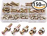 Zinc Plated Hex Drive Socket Cap Furniture Barrel Screws Bolt Nuts Assortment Kit for Furniture Cots Beds Crib and Chairs, M6 x 15/20/25/30/35mm - 150PCS by Extra-Perseverance
